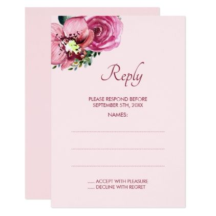 Pink orchids roses wedding reply cards wedding reply cards pink pink orchids roses wedding reply cards elegant gifts gift ideas custom presents stopboris Choice Image