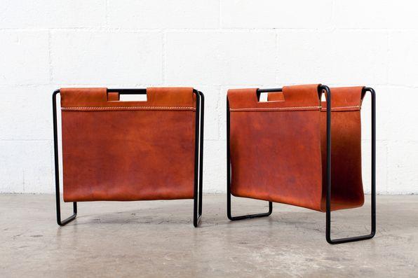 Mid Century Leather And Metal Magazine Rack Storage