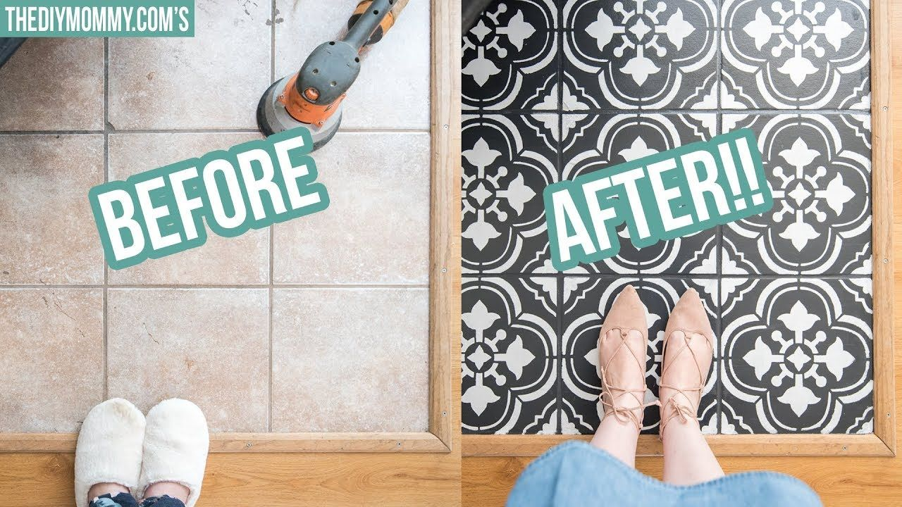 How To Paint Tile Floors With A Stencil Youtube Painting Tile Floors Painting Bathroom Tiles Tile Floor