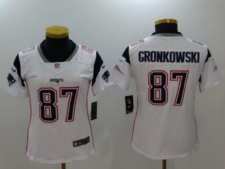 on sale bc5c8 66cf7 Women New England Patriots 87 Gronkowski White Nike Vapor ...