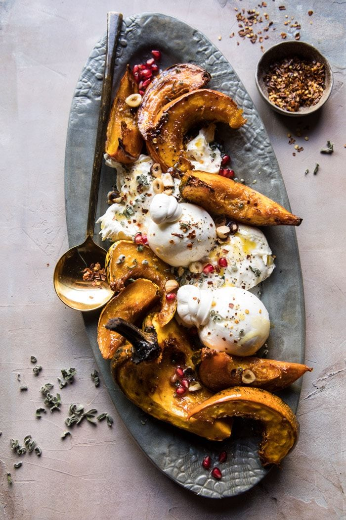 Photo of Honey Butter Roasted Acorn with Burrata and Pomegranate. – Half Baked Harvest