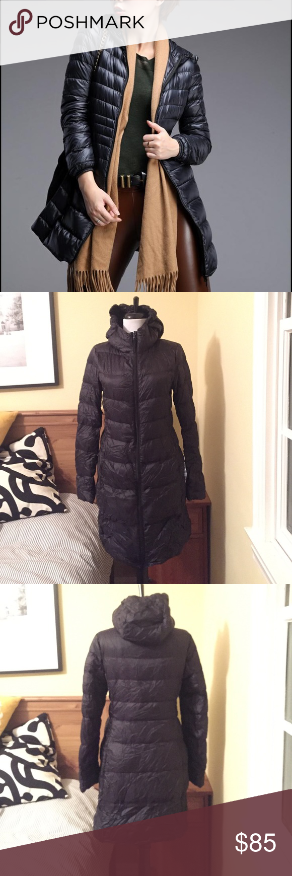 Black Uniqlo Ultra Light Down Hooded Puffer Coat Puffer
