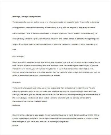Concept Outline Essay Sample Essayhelp Student Template Self