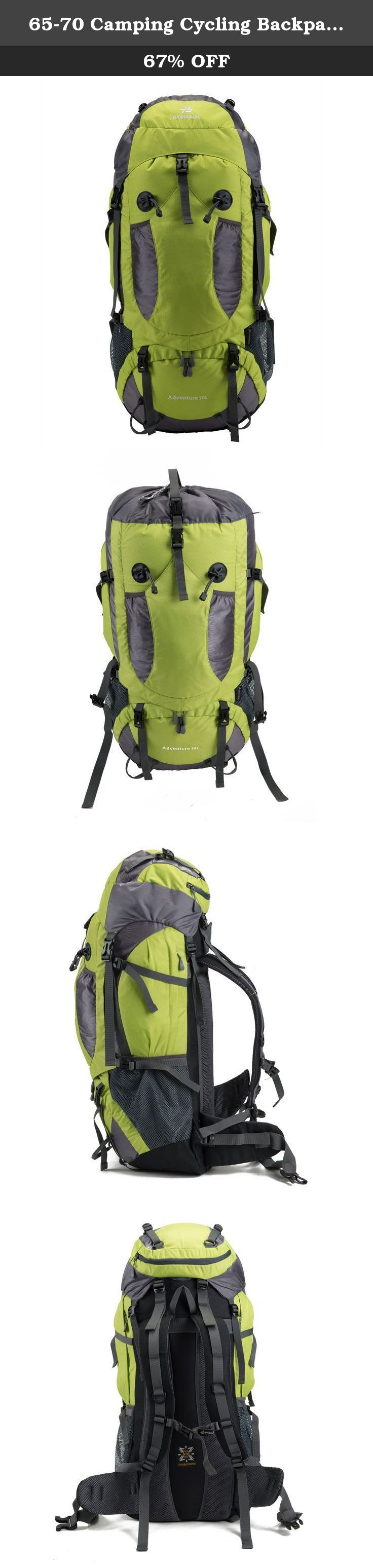 65-70 Camping Cycling Backpack Travel Backpack Trekking Hiking Daypackk Waterproof Durable for Outdoor Backpack Climbing Mountaineering Backpack. Department: Unisex Structure 1.Exterior: One zippered front pockets, One Buckle pockets, With cover,dual-zipper,There are zygomorphous mesh bag. 2.Interior: One open pocket. 3.Fabric: Water-resistant rip-stop Nylon. Features 4.Durable 2-way Abrasion Resistant SBS Metal Zipper across the backpack. 5.3D honeycomb breathable mesh and high…