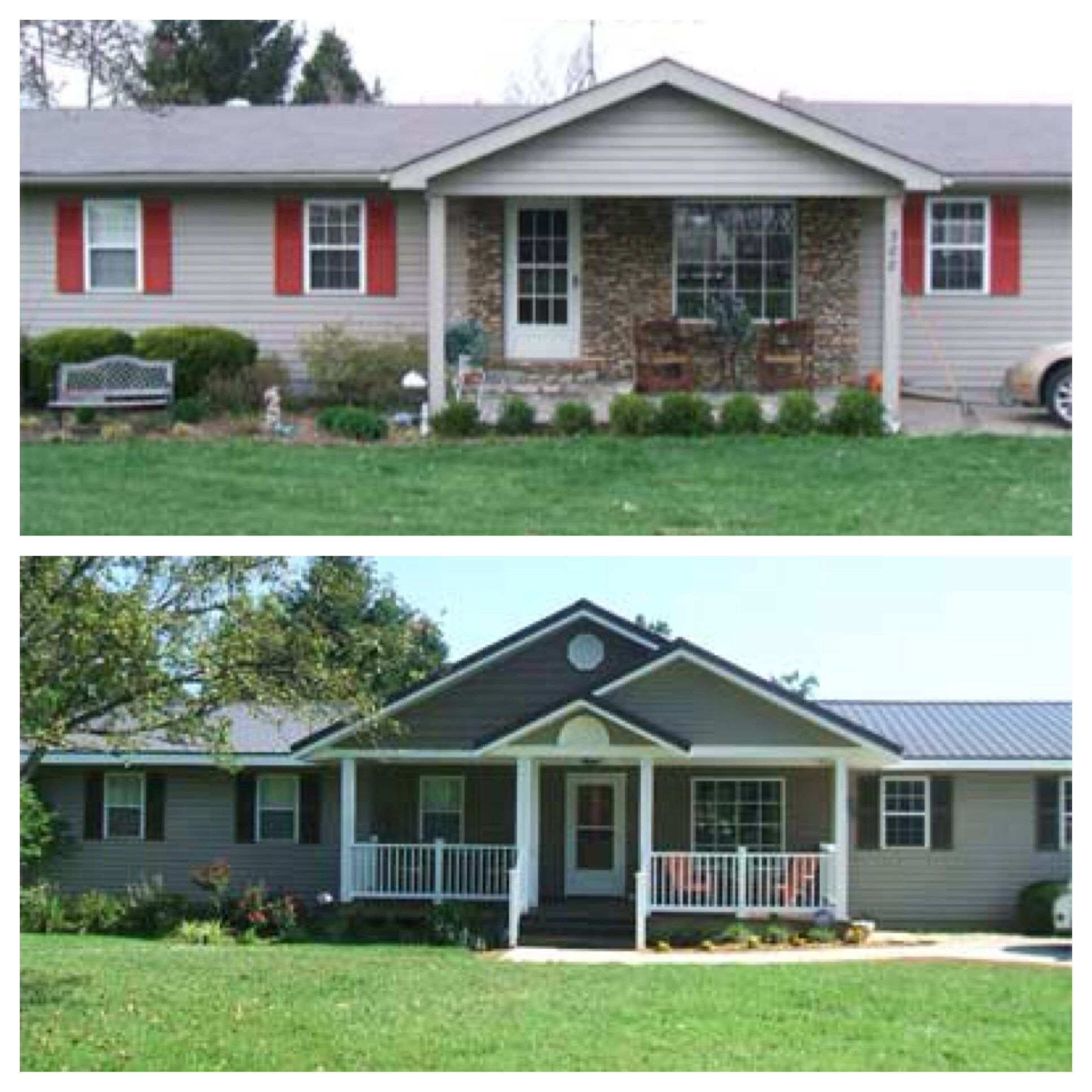 Curb appeal before and after add interest and dimension for Ranch style house renovations