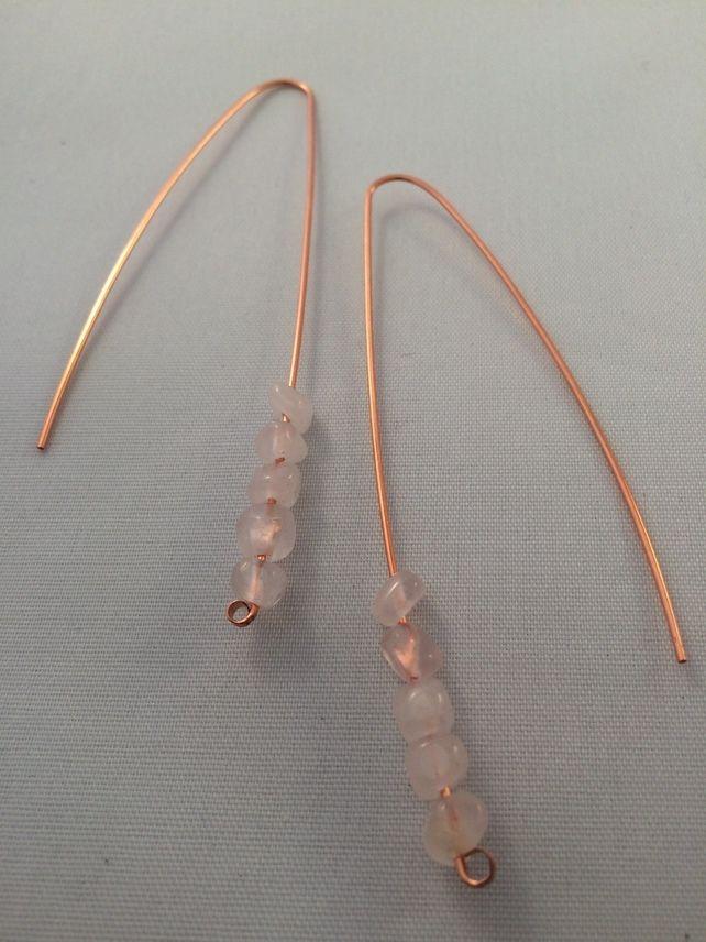 Copper and Rose Quartz earrings