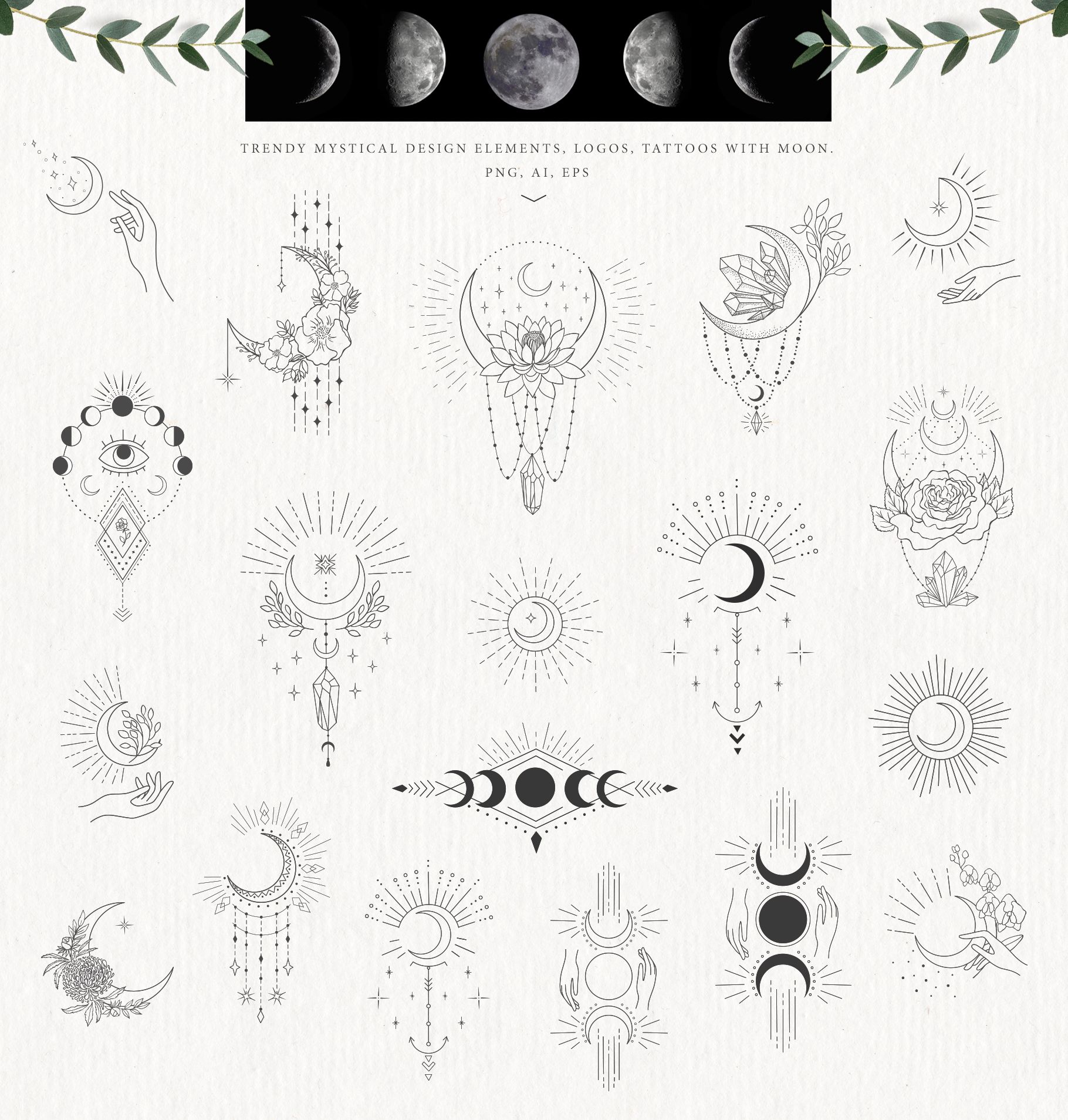 Mystical Moon – Hand Drawn Floral Logo Print – Design Cuts