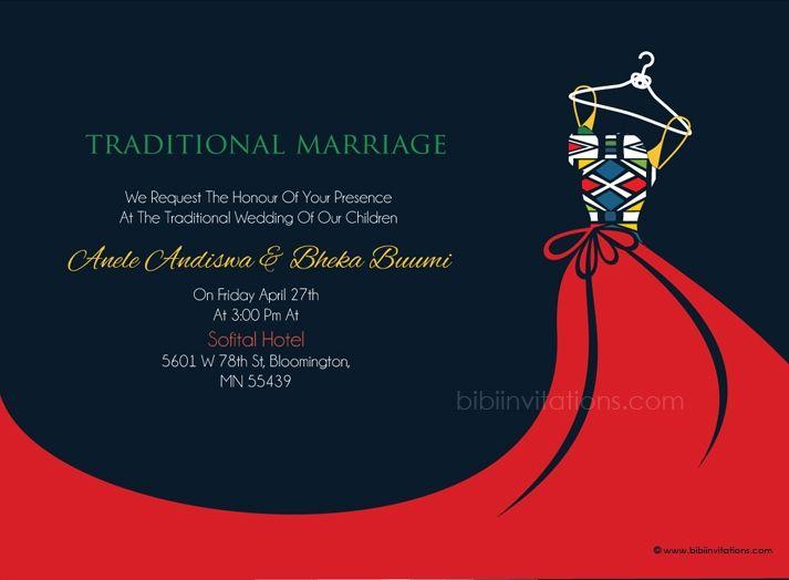 Busisiwe ndebele traditional wedding invitation for Xhosa traditional wedding invitations