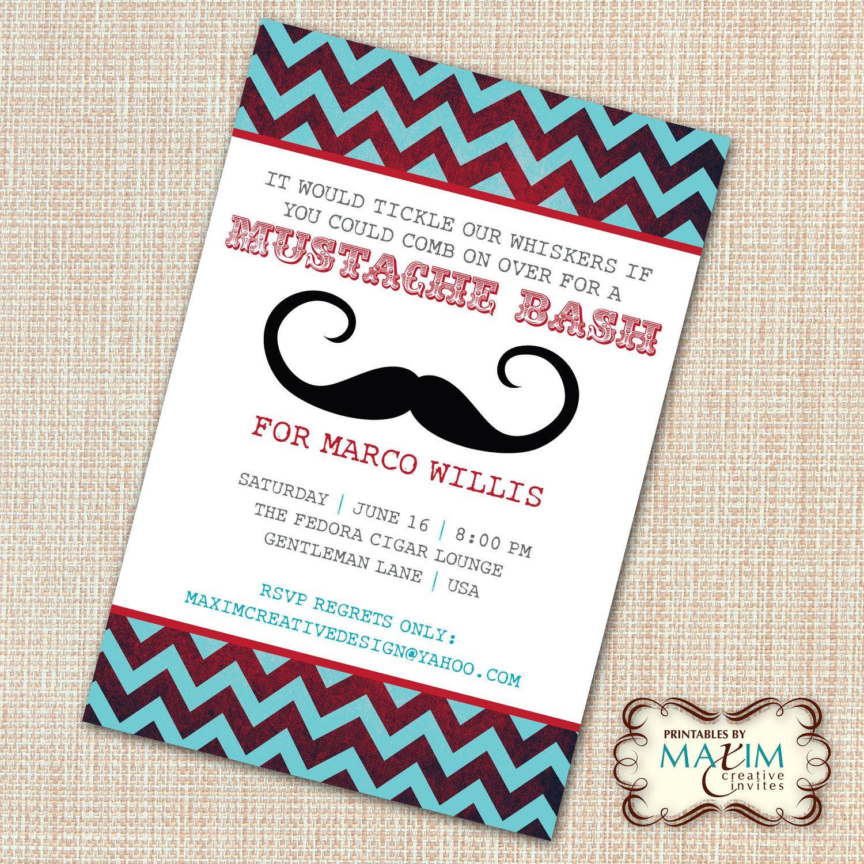 DIY Printable Invitation - Mustache Bash Party, Mustache Birthday ...