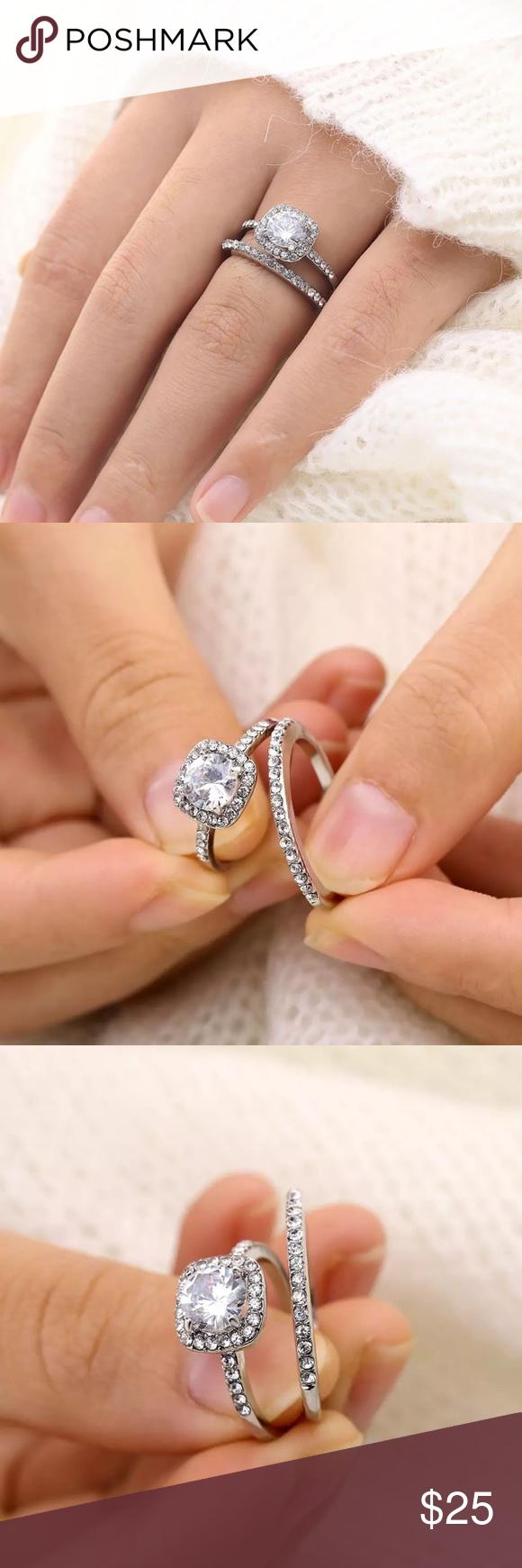 Beautiful Crystal Engagement Ring Set Crystal engagement