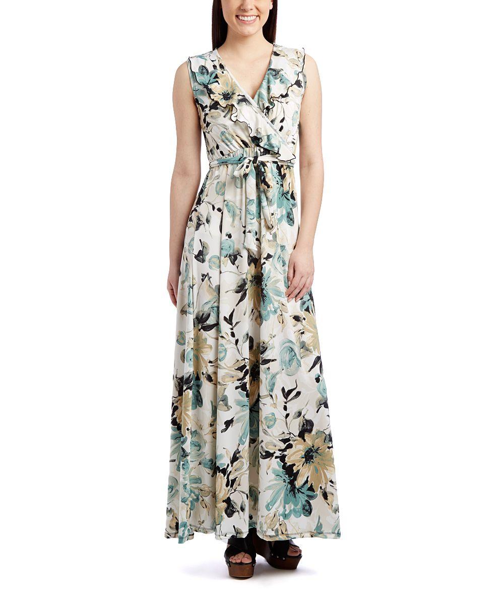 Black u tan floral ruffle surplice empirewaist maxi dress zulily