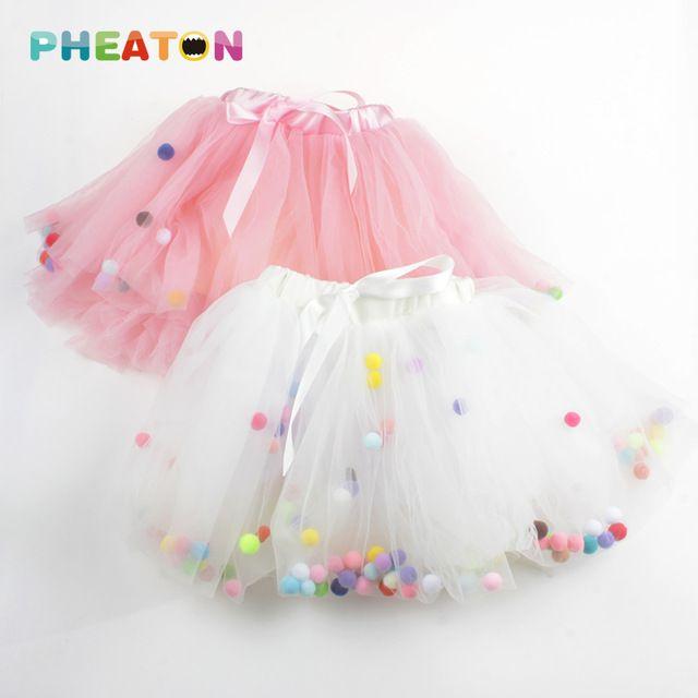 Boules colorées filles Tutu jupe 4 couches Super doux maille dentelle bébé Tutu enfants jupes Ins Hot Style 2 couleurs