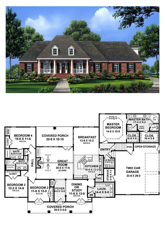 Traditional Style House Plan 59079 With 4 Bed 4 Bath 2 Car Garage Colonial House Plans House Plans House Plans Farmhouse
