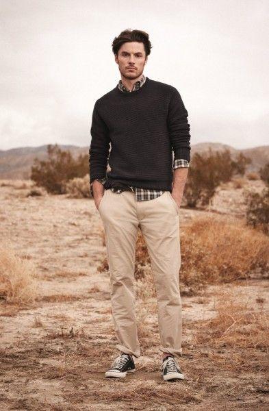Sweater/plaid/khaki/chucks.