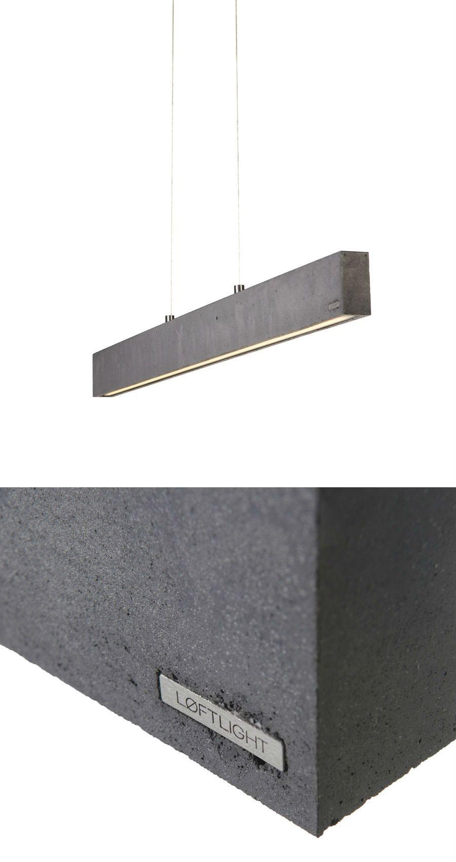 CONCRETE LINE - pendant lamp. Anthracite colour, 102.5cm wide. Built in 1140lm LED source #handcast #concretelamp #loft #loftlight