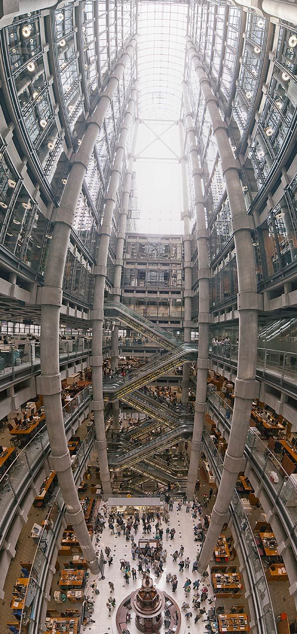 Wide Angle Shot Of Lloyds Building Large Pillars And Staircase