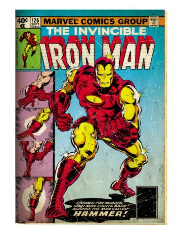 Marvel Comics Retro: The Invincible Iron Man Comic Book Cover #126, Suiting Up for Battle (aged) Art Print