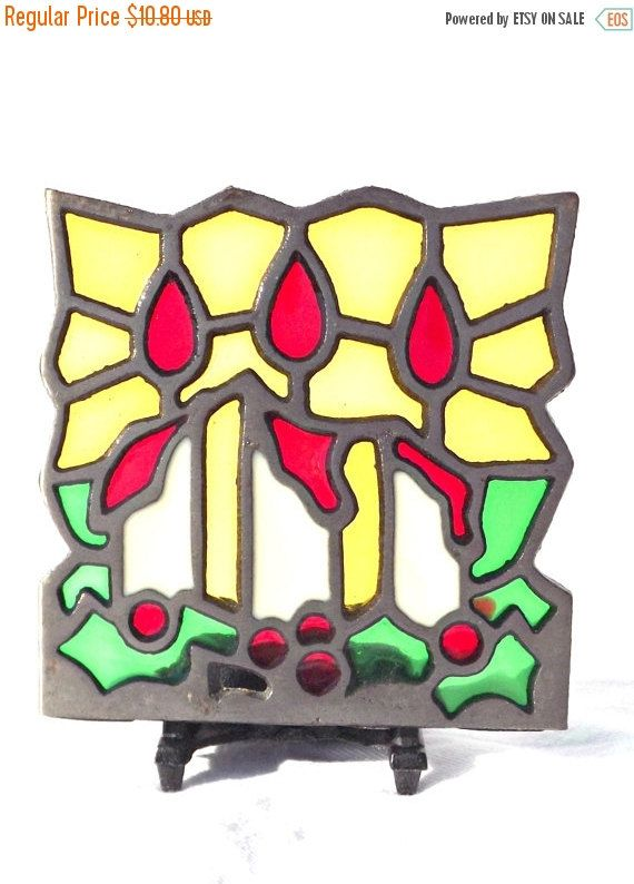 50 OFF CLEARANCE BLACK Friday Sale Stained Glass Tealight - christmas clearance decor