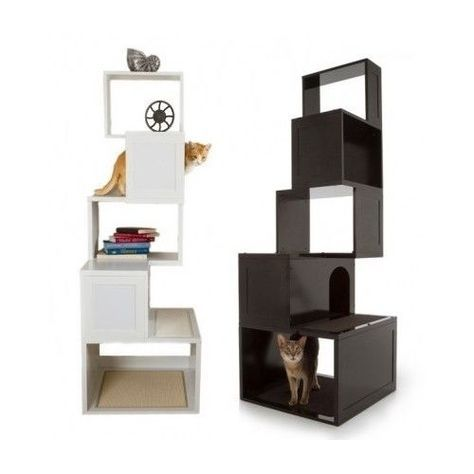 trendy cat furniture designer modern cat tree pet condo scratching post shelf storage bed furniture play post tree and