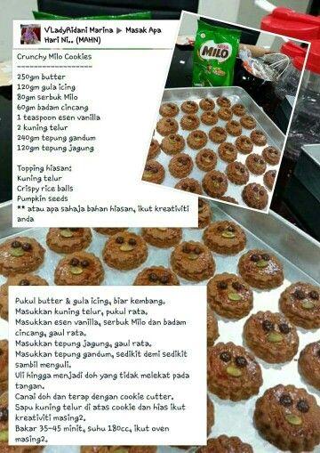 Crunchy Milo Cookies Resep Biskuit Makanan Kue Mangkuk
