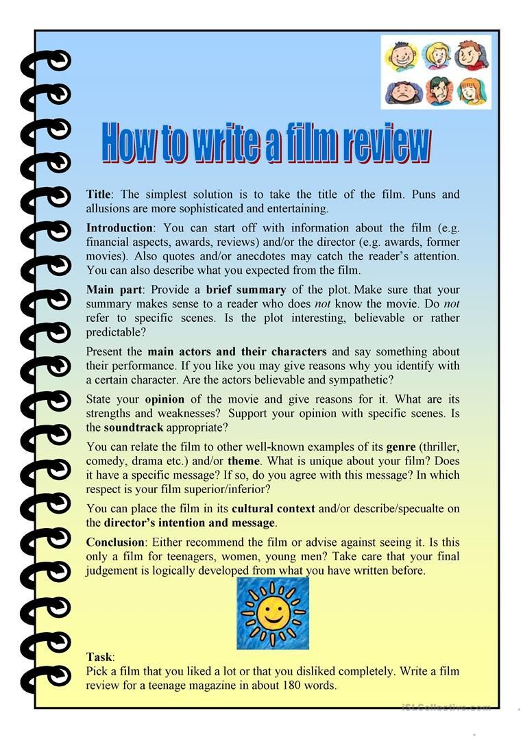how to write a film review worksheet - Free ESL printable worksheets ...