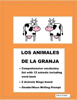 Spanish Farm Animals Color Bingo Game Gender Noun Farm Animales De La Granja Word Bank Fun Lesson Plans Spanish Lessons