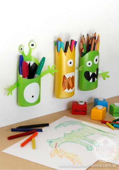 How to make Shampoo Monsters - DIY - Tutorial (in portuguese but easy to undestand with the step by step pictures) - Fun pencil holders for kids - Madame Criativa - www.madamecriativa.com.br