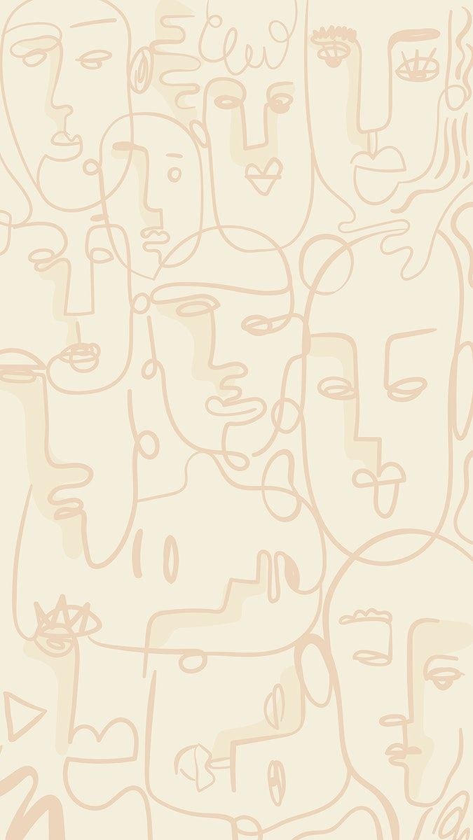 Abstract face line drawing on a beige background d
