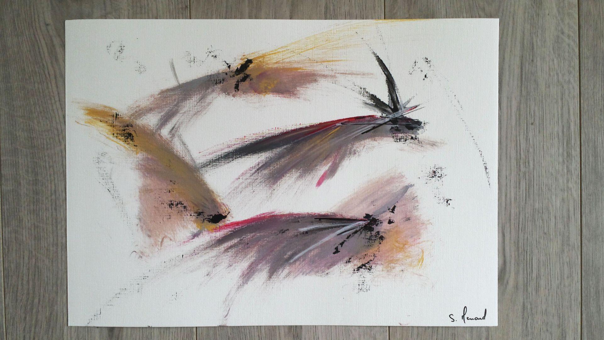Peinture Acrylique Rose Blanc Noir Jaune Gris Sur Papier Grain