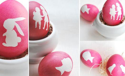 easter silhouette eggs.