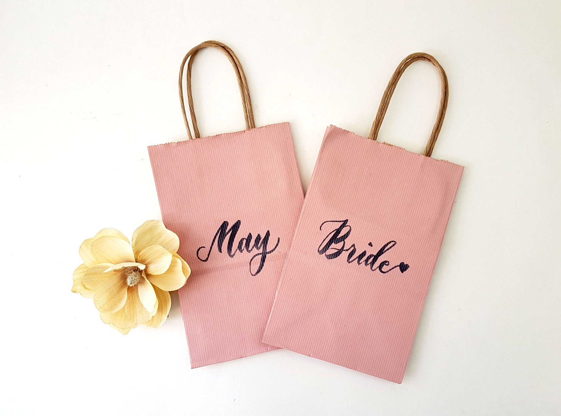 Set of 2 Personalized Bridesmaid Gift Bags / Wedding Welcome Gift ...