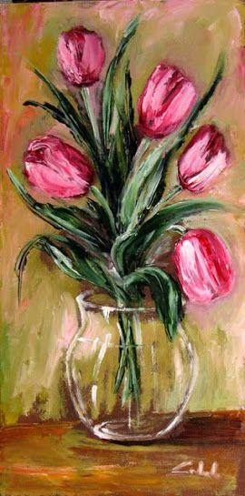 Tulpe In Der Vase Schwan In 2019 Malerei Schablonen Malen Und