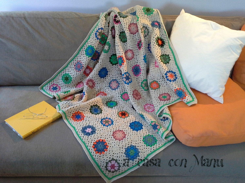 Plaid divano ~ Coperta copri gambe calda fatta a mano a uncinetto in lana plaid