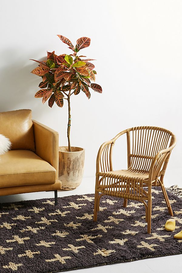 Pari Rattan Chair by Anthropologie in Grey Size All