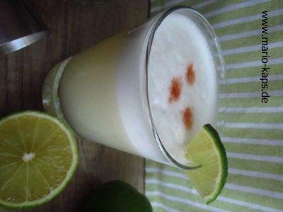 Pisco Sour – DER peruanische und chilenische Cocktail - ein Klassiker der aus Pisco, Eiweiß, Limetten, Zuckerrohrsirup und Angosura Aromatic Bitter besteht