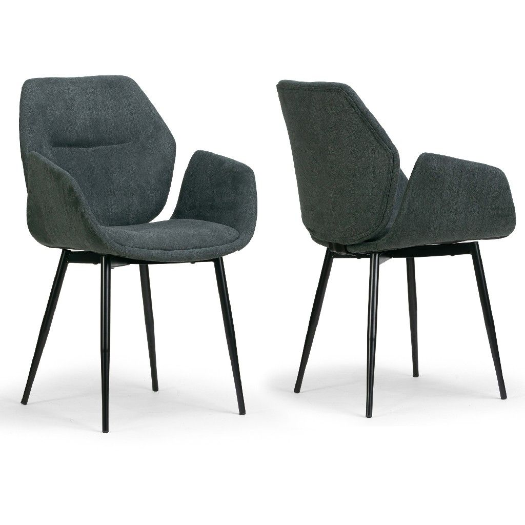 Amari Grey Velvety Fabric Dining Chair W Black Metal Legs Set Of