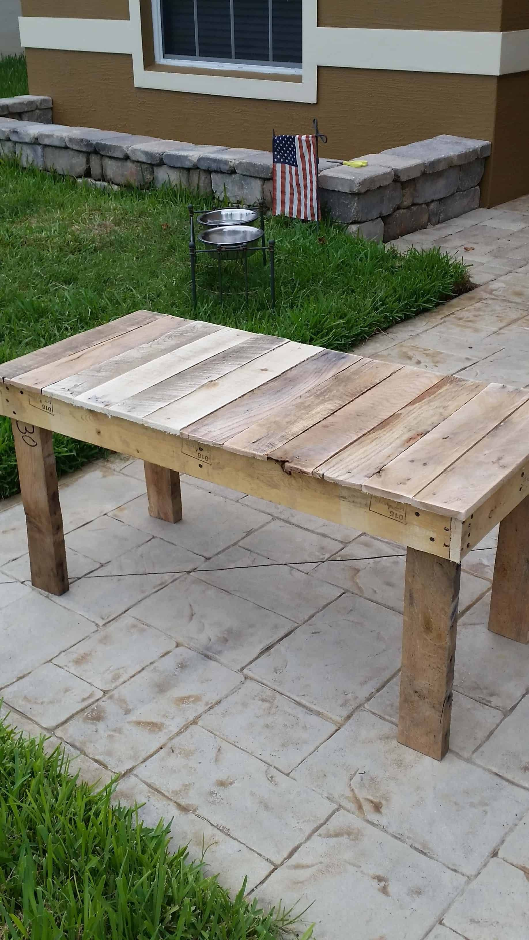 Long End Table From Pallets 1001 Pallets In 2020 Pallet Table Diy End Tables Pallet End Tables