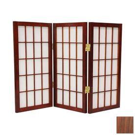 Oriental Furniture 3-Panel Walnut Folding Indoor Privacy Screen ...