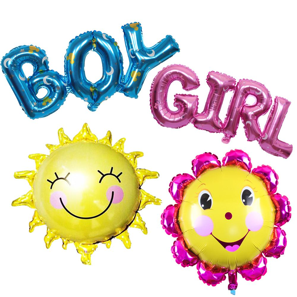 4 Pcs Surat Boy Gadis Matahari Fllower Globos Foil Balon Selamat Mainan 1 Letters Girl Balloons Happy Birthday Sun Helium Air Balloon Inflatable