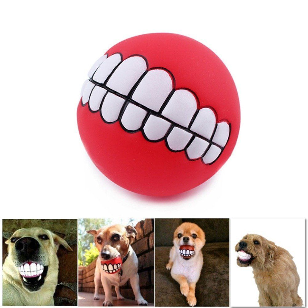 Patgoal Pet Dog Ball Teeth Silicon Toy Chew Squeaker Sound Dogs Play Toys