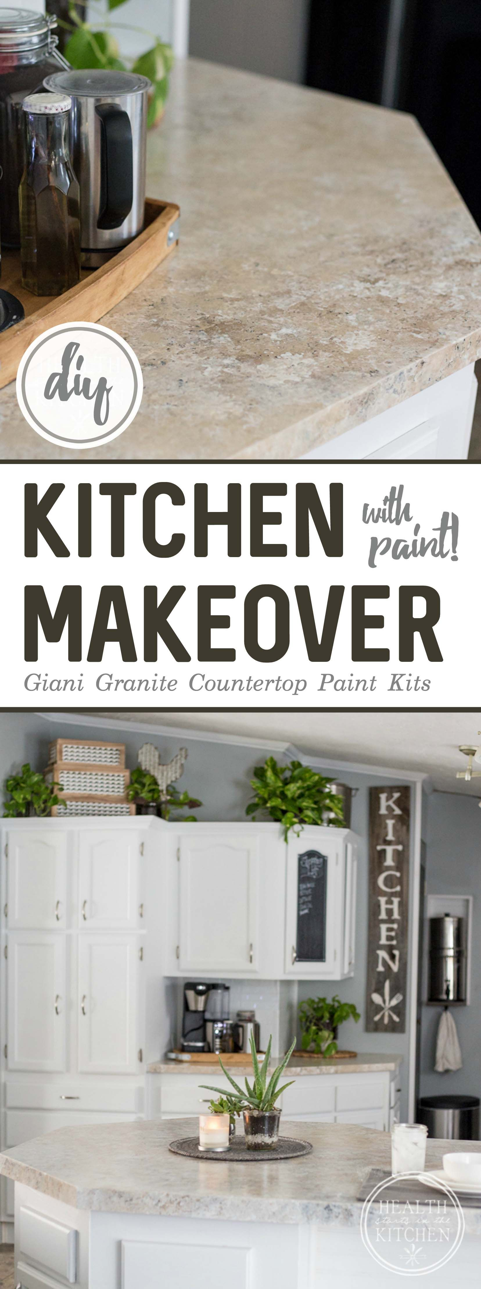 Holiday Kitchen Makeover 500 Budget After Painted Countertops Diy Painting Countertops Kitchen Makeover
