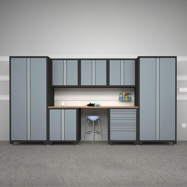 Lowes Grey Storage Cabinets Garage Organization