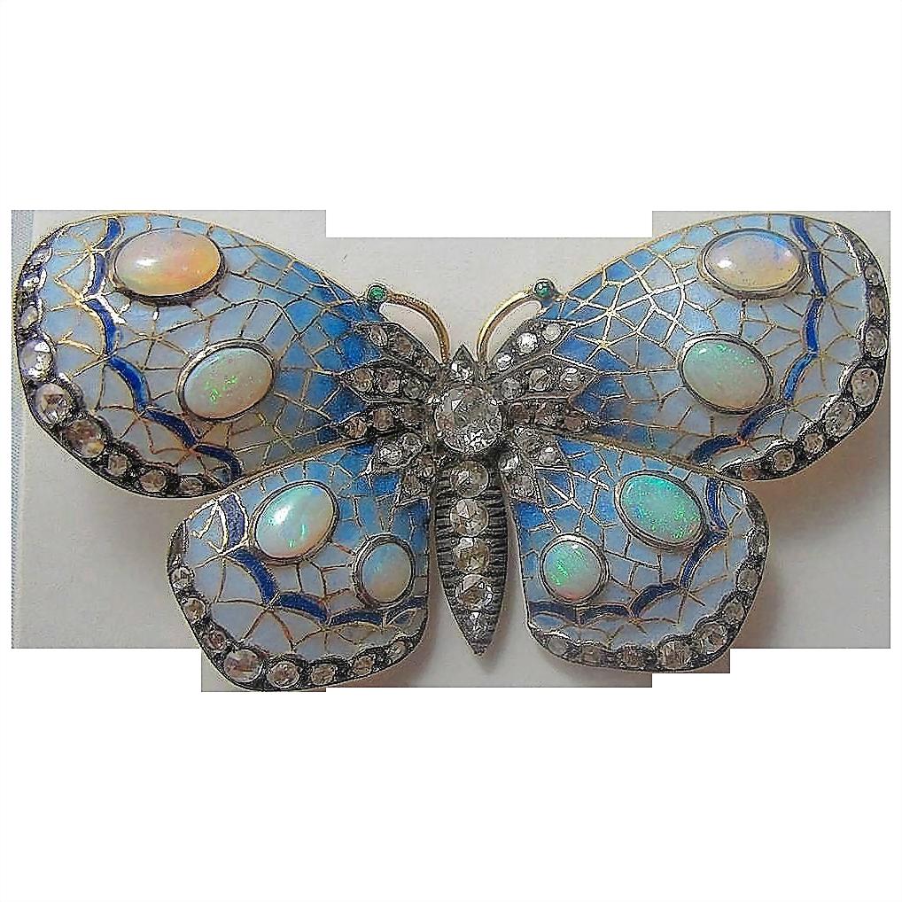 Gorgeous Enamel, Opal & Diamond Butterfly Brooch 18K -  circa 1900