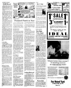 """Página cuatro de la edición del miércoles 18 de noviembre de 1959 del periódico """"The Hutchinson News"""". A esta página remite el encabezado de la primera página del diario para leer los detalles sobre la recompensa de $ 1,000 dólares que ofrecen por cualquier información que conduzca al arresto y condena de los culpables del asesinato de la familia Clutter. La nota se lee en el extremo izquierdo."""