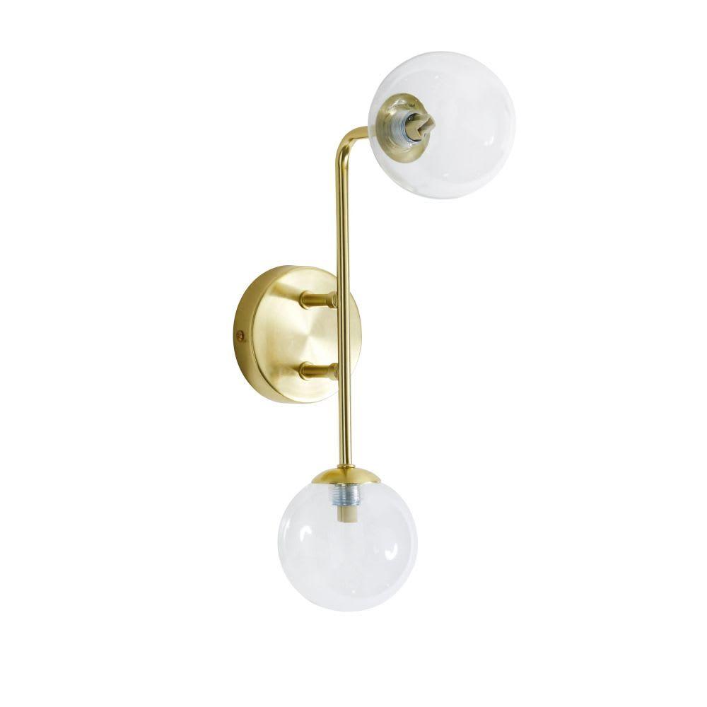 Applique 2 Globes En Verre Et Metal Dore Nino Wandlamp Opbergmanden Vazen