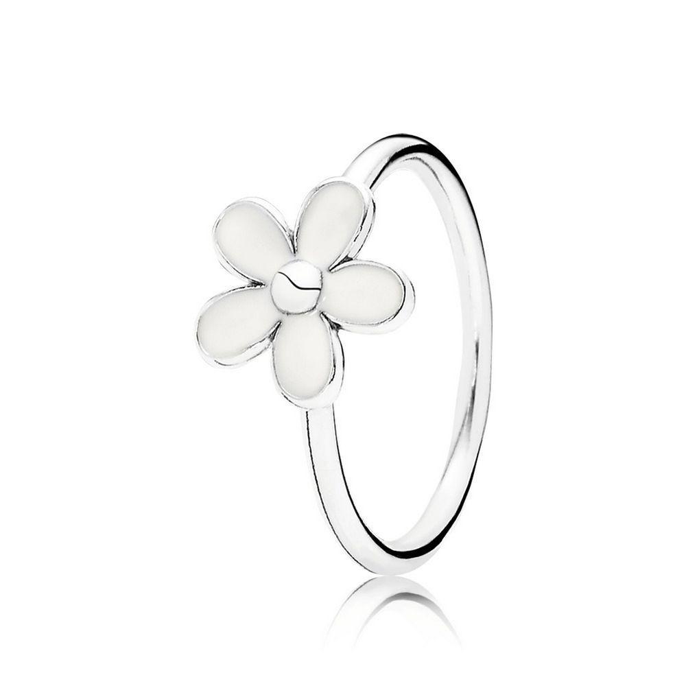 Darling daisy stackable ring white enamel pandora us