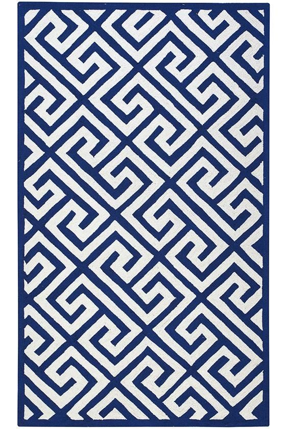Inexpensive Hooked Wool Rug With Greek Key Pattern From