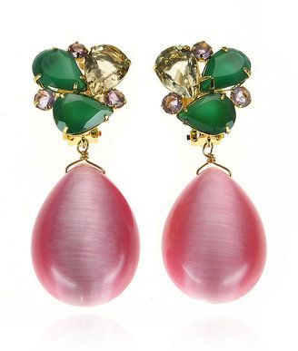 Bounkit Green Onyx & Pink Cat's Eye Earrings
