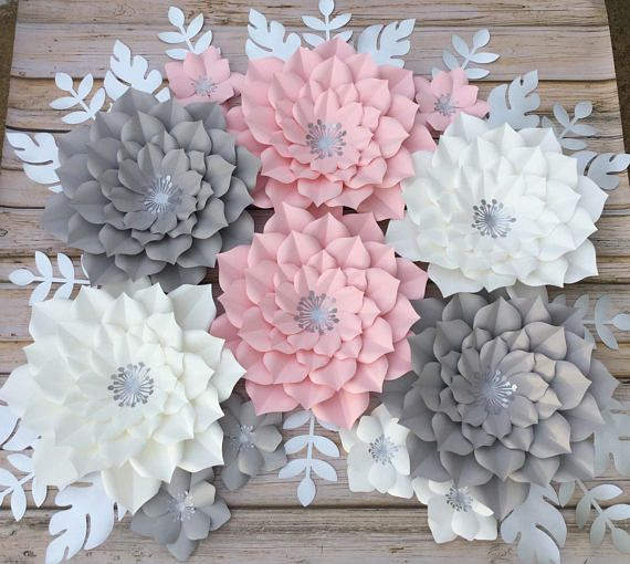 Set of 6 pink, white and grey paper flowers How about adding this beautiful set of paper flowers to your next