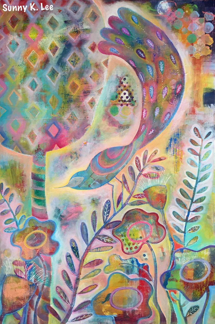 In the Garden / Acrylic / Size: 24 × 36 × 1.5 in